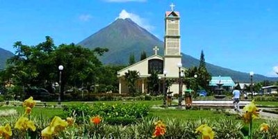 La Fortuna Church Volcano.jpeg